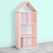Детский стеллаж для книг и игрушек (домик-полка) Сердечки BAMBI H 2020-12-2 розовый