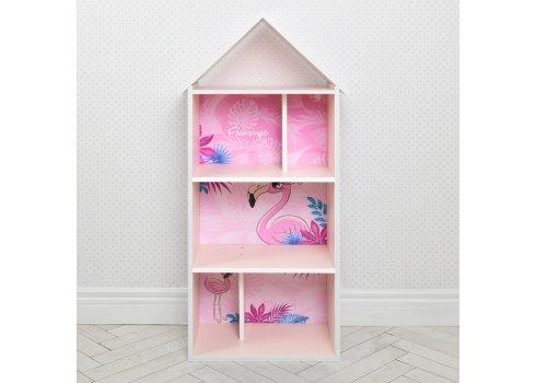 Детский стеллаж для книг и игрушек (домик-полка) Фламинго BAMBI H 2020-14-1 розовый