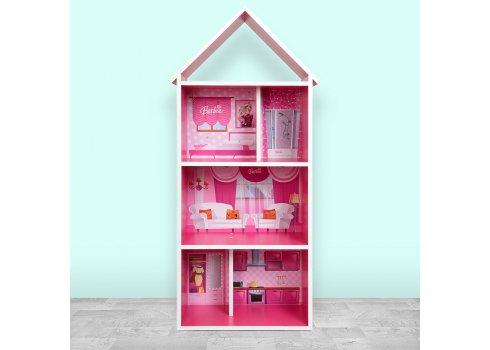 Детский стеллаж для книг и игрушек (домик-полка) Барби Barbie BAMBI H 2020-2-1 малиновый