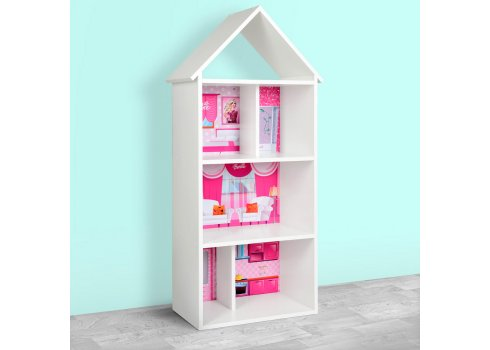 Детский стеллаж для книг и игрушек (домик-полка) Барби Barbie BAMBI H 2020-2-2 белый