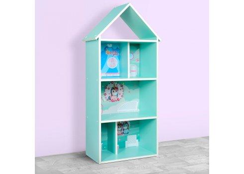 Детский стеллаж для книг и игрушек (домик-полка) Единорог BAMBI H 2020-3-1 мята