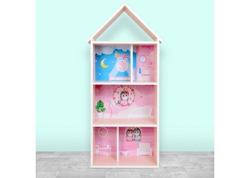 Детский стеллаж для книг и игрушек (домик-полка) Единорог BAMBI H 2020-4-1 розовый