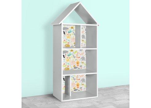 Детский стеллаж для книг и игрушек (домик-полка) Животные BAMBI H 2020-7-1 серый