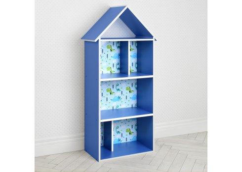 Детский стеллаж для книг и игрушек (домик-полка) Динозавры BAMBI H 2020-8-1 синий
