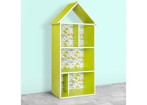 Детский стеллаж для книг и игрушек (домик-полка) Динозавры BAMBI H 2020-9-2 зеленый