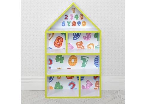 Домик-стеллаж для игрушек 95 см Цифры PLK-L-84 белый
