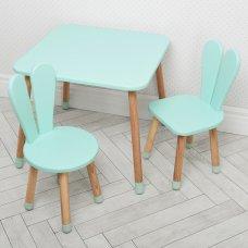 Столик и два стульчика Зайчик Bambi 04-025B+1 бирюзовый