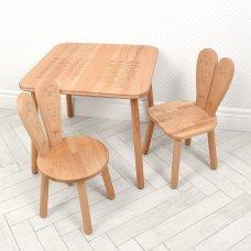 Детский столик и 2 стульчика деревянный 04-025EA+1