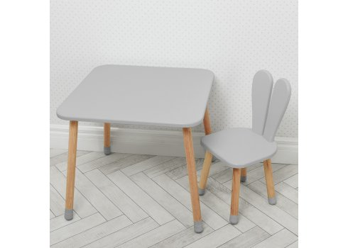 Столик со стульчиком Зайчик Bambi 04-025GREY серый