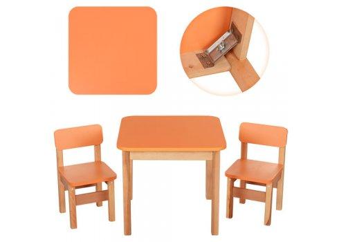 Деревянный стол и два стульчика F092 оранжевый