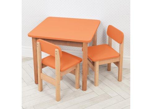 Детский деревянный столик и два стульчика F092 оранжевый