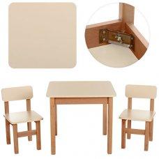 Деревянный стол и два стульчика F093 ваниль