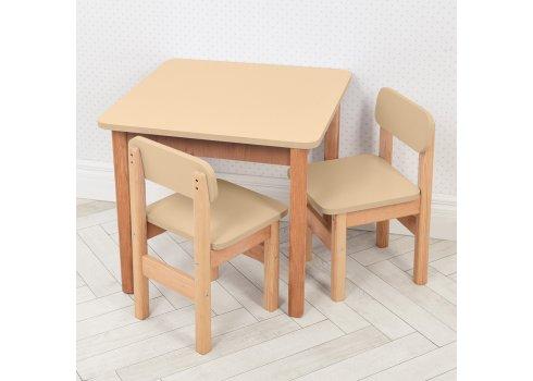 Детский деревянный стол и два стульчика F093 ваниль
