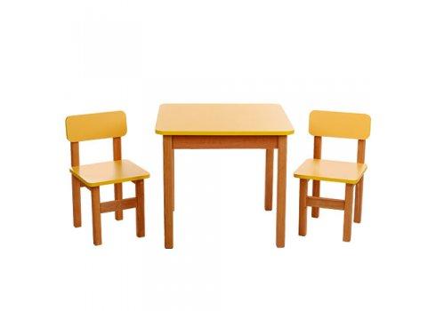 Деревянный стол и два стульчика F094 желтый