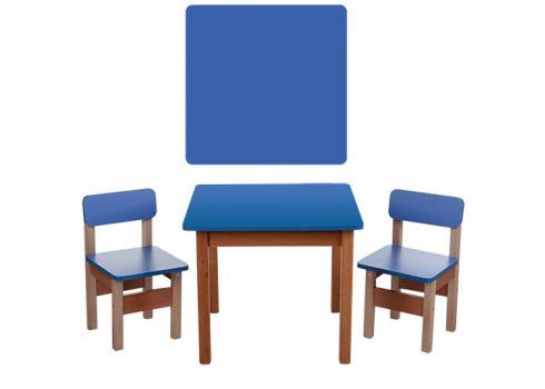 Деревянный стол и два стульчика F095 синий