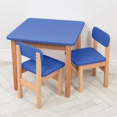 Детский деревянный столик и два стульчика F095 синий