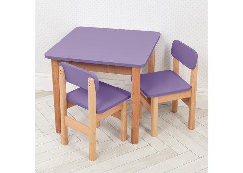 Детский деревянный столик и два стульчика F096 фиолетовый