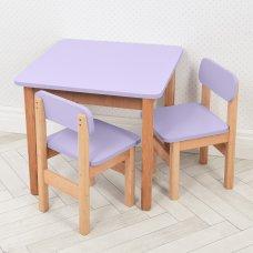Детский деревянный столик и два стульчика F097 фиолетовый