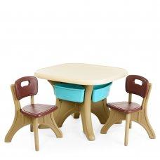 Детский столик с двумя стульчиками BAMBI ETZY-13 бежево-коричневый