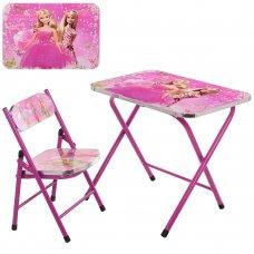 Детский складной столик со стульчиком Барби A19-BB розовый