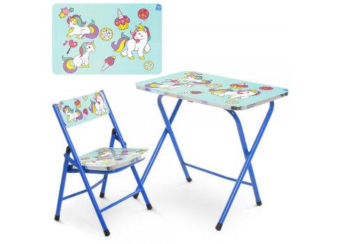 Детский складной столик со стульчиком Единорог A19-BLUE UNI