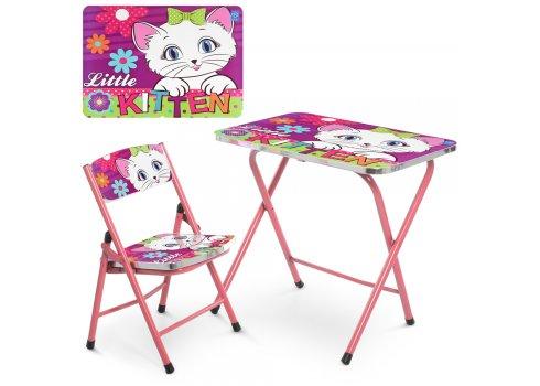 Железный детский столик со стульчиком складной Котенок A19-KITTEN