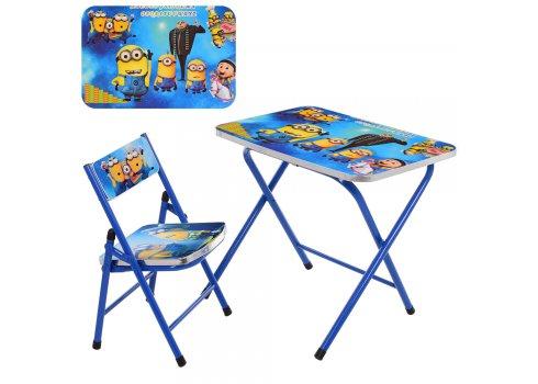 Детский складной столик со стульчиком Миньоны A19-MN синий