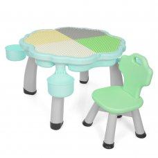 Набор детской мебели стол и стул с лего поверхностью BAMBI YG2020-3-4 мятный