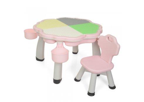 Набор детской мебели стол и стул с лего поверхностью BAMBI YG2020-3-8 розовый
