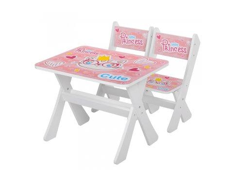 Детская столик и два стульчика Кошка, Bambi М 2100-16 белый