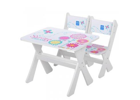 Детская столик и два стульчика Весна, Bambi М 2100-18 белый