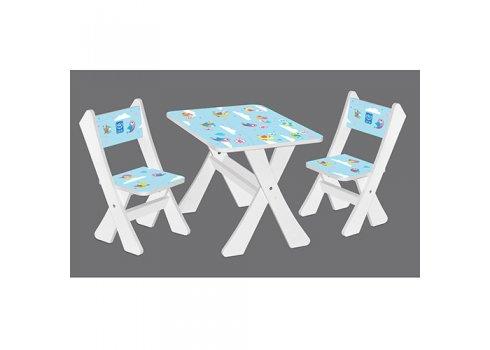 Детская столик и два стульчика Птички, Bambi М 2100-20 белый