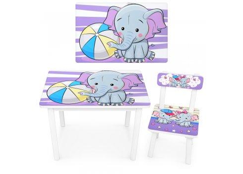 Детский деревянный столик со стульчиком Слоник BSM2K-05