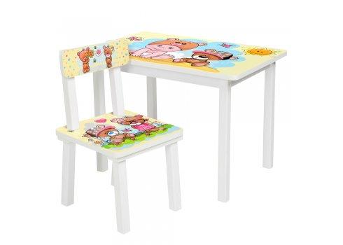 Детский деревянный столик со стульчиком Малыш и мишка BSM2K-06