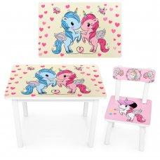 Детский деревянный столик со стульчиком Единороги BSM2K-19 розовый