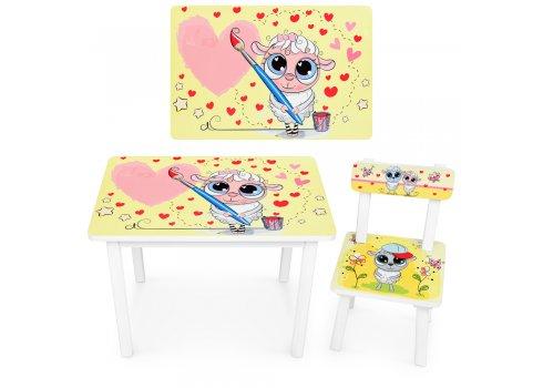 Детский деревянный столик со стульчиком Овечка-художник BSM2K-30
