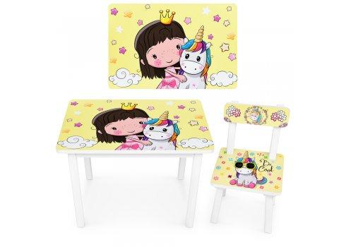 """Детский деревянный столик со стульчиком """"Принцесса и единорог"""" BSM2K-31"""