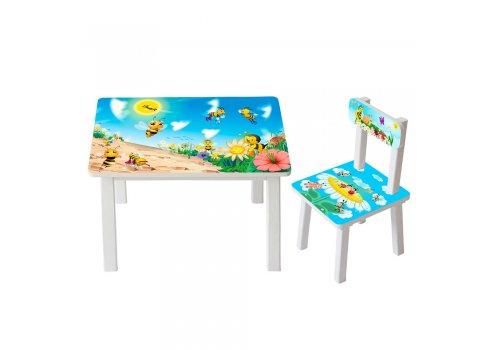 Детский деревянный столик со стульчиком Пчелка BSM2K-32