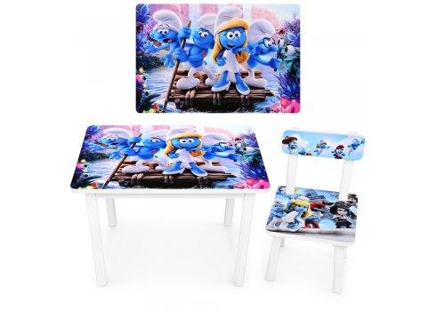 """Детский деревянный столик со стульчиком """"Смурфики"""" BSM2K-M04"""