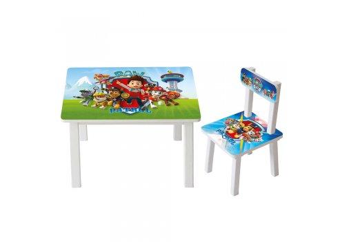 Детский деревянный столик со стульчиком Щенячий патруль BSM2K-M07