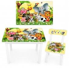 """Детский деревянный столик со стульчиком """"Зоопарк"""" BSM2K-46"""
