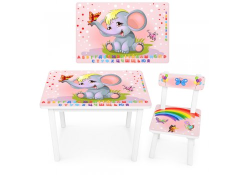 """Детский деревянный столик со стульчиком """"Слоник"""" BSM2K-47UA укр алфавит"""