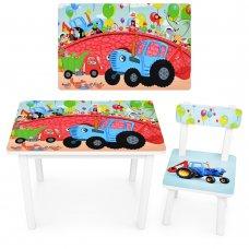 Детский деревянный столик со стульчиком Синий трактор BSM2K-48