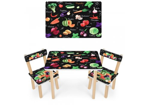 Деревянный столик и два стульчика Овощи 501-112