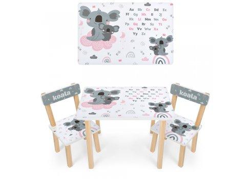 Деревянный столик и два стульчика Коала 501-115 белый
