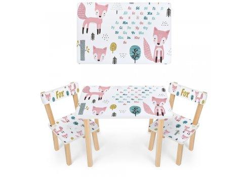Деревянный столик и два стульчика Лисички 501-119