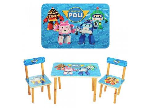 Деревянный столик и два стульчика Robocar Poli, 501-12
