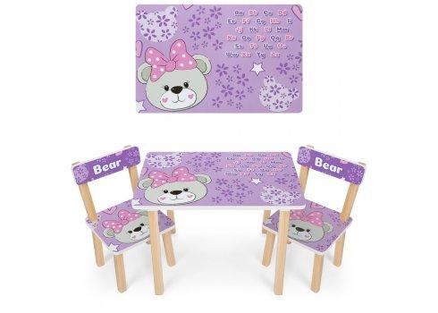 Деревянный столик и два стульчика Мишка 501-121 сиреневый
