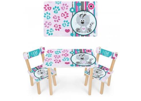 Деревянный столик и два стульчика Котик 501-122