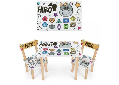 Деревянный столик и два стульчика Гиппопотам 501-125